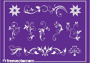 Floral Swirls Set - Free vector #145821