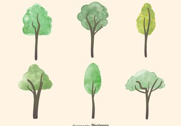 Watercolor Tree Vectors - Free vector #145991