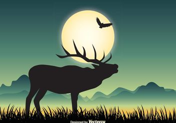 Wildlife Landscape Illustration - Free vector #146041