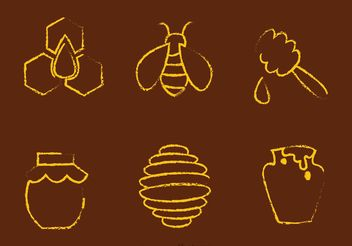 Chalk Drawn Bee And Honey Vectors - Free vector #146191