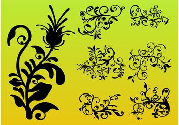 Flower Silhouettes - Kostenloses vector #146381