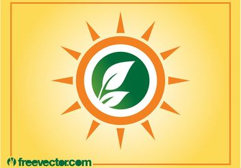Sun And Leaves Logo - vector gratuit #146441
