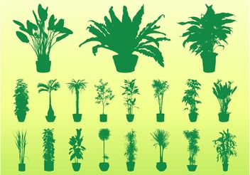 Potted Plants Silhouettes - Free vector #146491