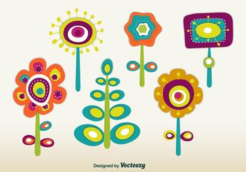 Retro Spring Flowers - Free vector #146521
