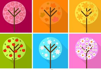 Colourful Flat Seasonal Tree Vectors - vector gratuit #146551
