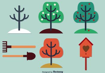 Seasonal Trees and Garden Vectors - Free vector #146591
