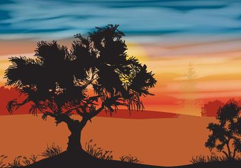 Landscape With Oak Tree - Free vector #146641