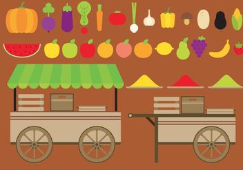 Fruits And Vegetables Vector Carts - vector gratuit #146811
