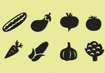 Black Vegetable Vector Icons - бесплатный vector #146931