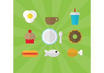 Flat Style Food Vectors 01 - Free vector #146941