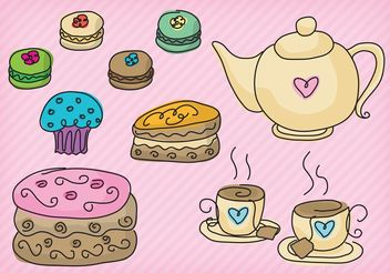 High Tea Party Vectors - Free vector #147091