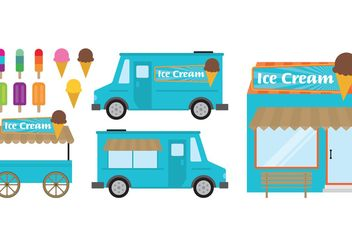 Food Cart And Ice Cream Shop - Free vector #147111