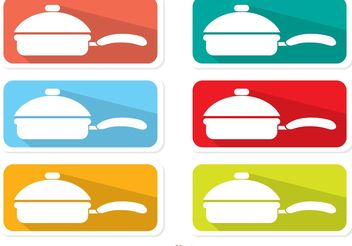 Colorful Pan With Handle Labels - Free vector #147211