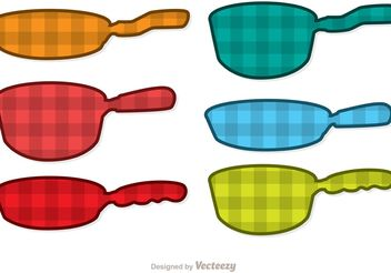 Plaid Pan with Handle Vectors - Free vector #147221