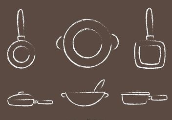 Chalk Drawn Pan with Handle Vectors - Kostenloses vector #147351