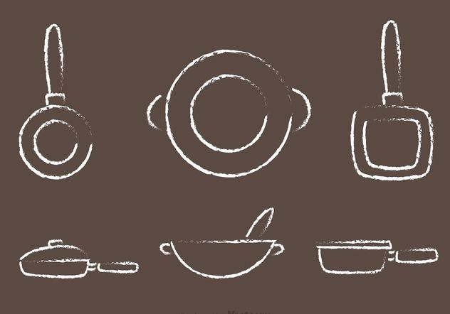 Chalk Drawn Pan with Handle Vectors - Free vector #147351