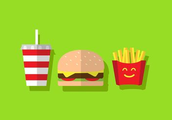 Free Burger Vector with Fries - Kostenloses vector #147401
