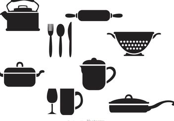 Black Vintage Kitchen Vectors - бесплатный vector #147591