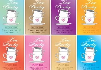 Tea Party Vector Invitations - Free vector #147611