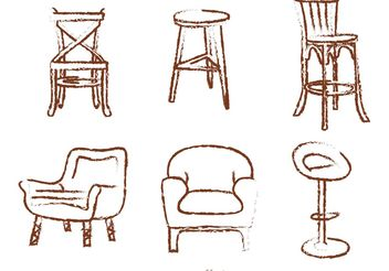 Chalk Drawn Chair Vectors - бесплатный vector #147671