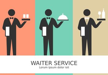 Free Vector Waiter Service Stick Figure Pictograms - vector #147691 gratis