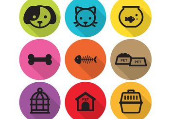 Long Shadow Flat Pet Icons - Free vector #147751