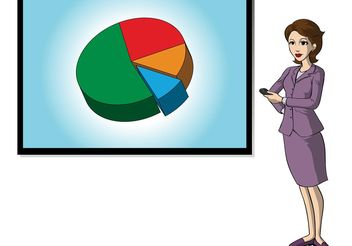 Businesswoman with Chart - vector gratuit #147771