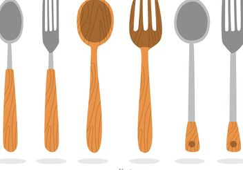 Wooden Utensil Vectors - бесплатный vector #147951