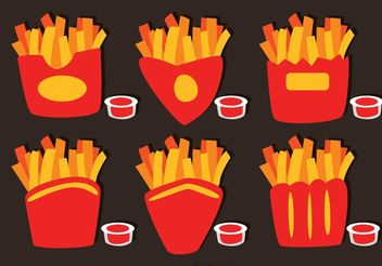 Collection Of French Fries Box Vector - Free vector #147981