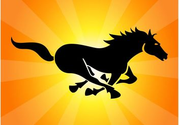 Black Running Horse - vector gratuit #148091
