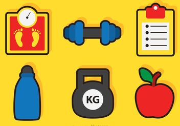 Fitness And Health Vector Icons - Free vector #148331