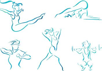 Free Vector Sketch Women Fitness Illustrations - Free vector #148401