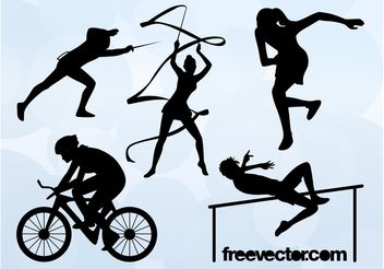 Olympic Sports Silhouettes - Free vector #148411