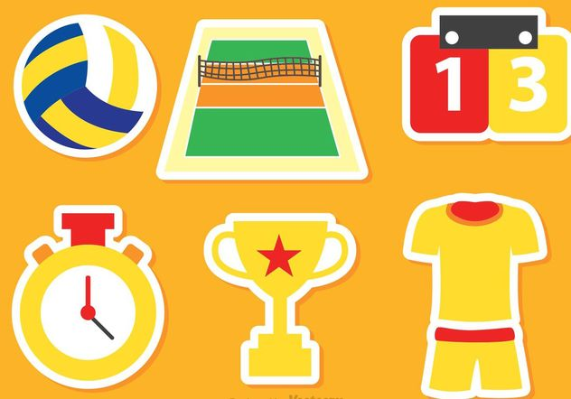 Volleyball Icons Vectors - vector gratuit #148711
