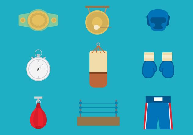 Old Time Boxing Vector Icons - Free vector #148831