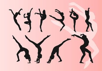 Girl Doing Artistic Dancing Gymnastics Silhouettes Vectors - Free vector #149211