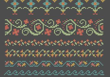 Cross Stitch Flower Border Set - Free vector #149451