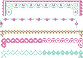 Cross Stitch Border Vector Set - Free vector #149641