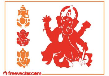 Ganesha Silhouettes Vector - Free vector #149821
