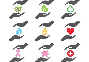 Helping Hands Icons - vector gratuit #150141