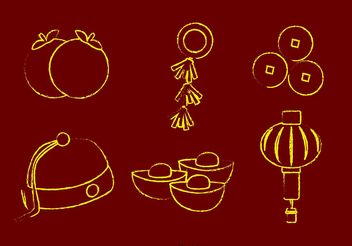 Chalk Drawn Chinese Lunar New Year Vectors - vector gratuit #150201