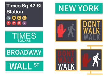 Free New York Street Signs Vector - vector #150221 gratis