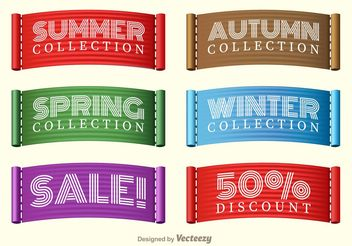Stitched Seasons Sale Collection Label Vectors - vector #150311 gratis