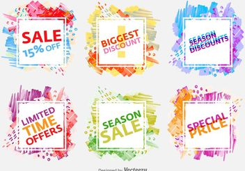 Watercolored Season Sale Badges - vector gratuit #150431