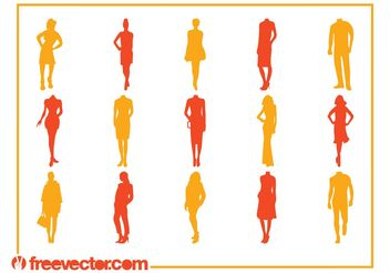 Fashion Silhouettes Vectors - Free vector #150561