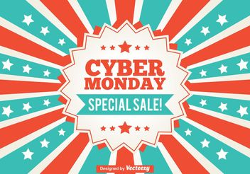 Cyber Monday Promotional Sunburst Background - vector gratuit #150791