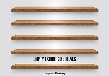 Wooden Display Shelves - vector gratuit #150901