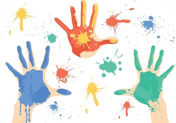 Free Dirty Paint Hands Vector - бесплатный vector #151121