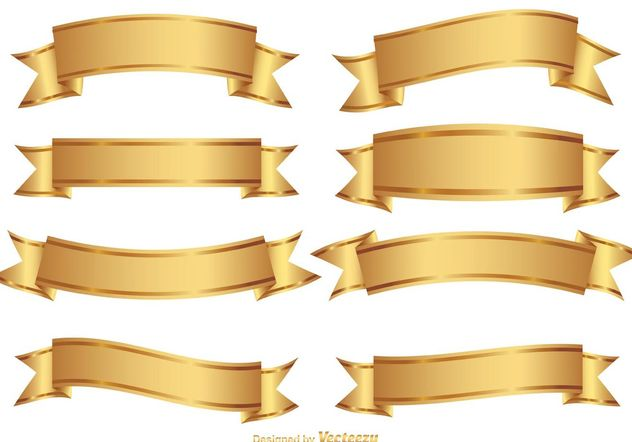 Golden Decorative Banner Set - Free vector #151131