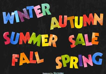 Seasonal Colourful Text Signs - vector gratuit #151151